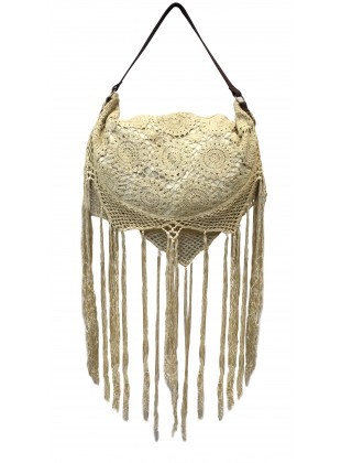Lace Crescent Shoulder Bag