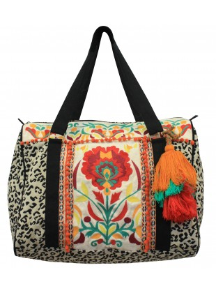 Floral thread embroidery jacquard bag