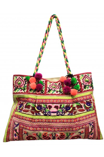Embroidered floral shoulder bag
