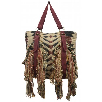 Fringed jacquard shoulder bag