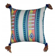 Multi-color tassel cushion