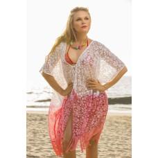 Kimono White and coral Burntout ombray