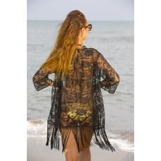 Black burntout Kimono