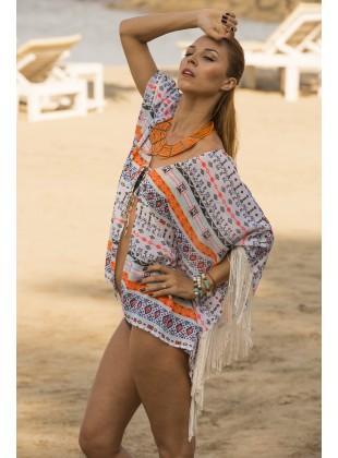 White Aztec Print Kimono