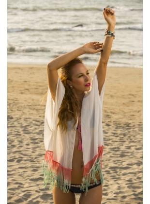 White ombre fringe Kimono