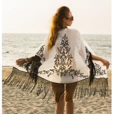 white georgette with black embroidery.Kimono