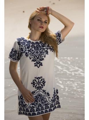 Blue Ethnic aari embroidery Dress