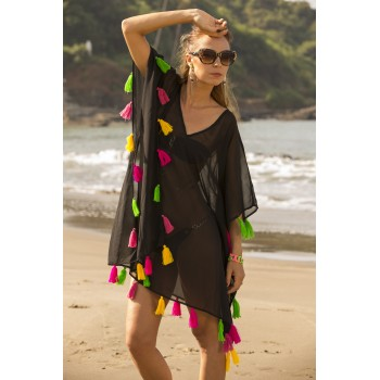 Cover up with multi colour tassels