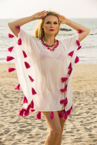 Cover up with coral colour tassels