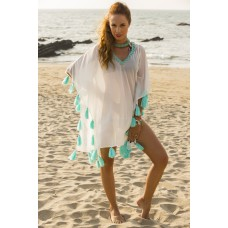 Cover up with sea green colour tassels