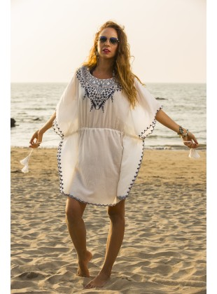 White Kaftan with blue embroidery neck work