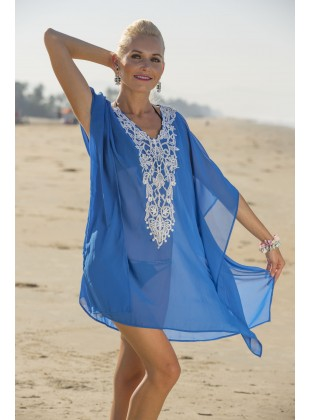 Royal blue georgette kaftan with neck patch