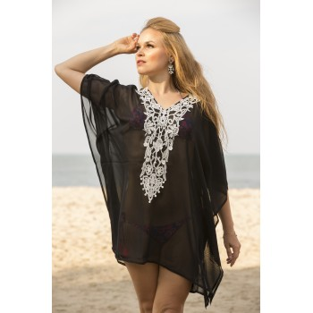 Black georgette kaftan with neck patch