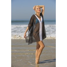 Black poly georgette kaftan with lace on front