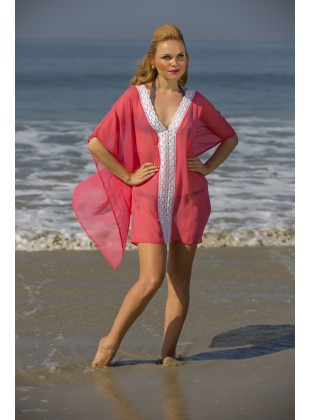 Coral  poly georgette kaftan with lace on front