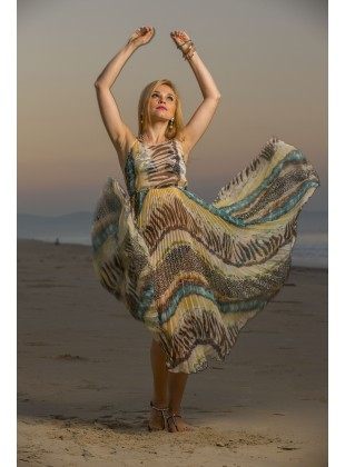 Poly chiffon pleated long dress