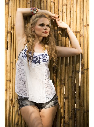 White crop top with chiffli and embroidery.