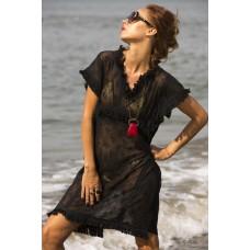 Black cotton net dress
