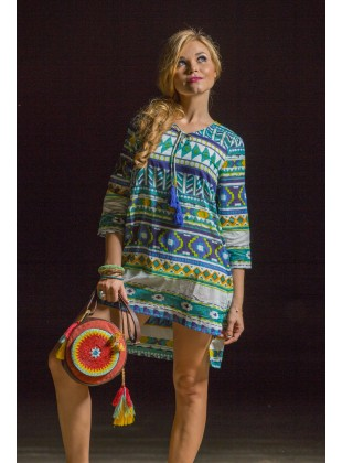 Aztec print neck drawstring tunic