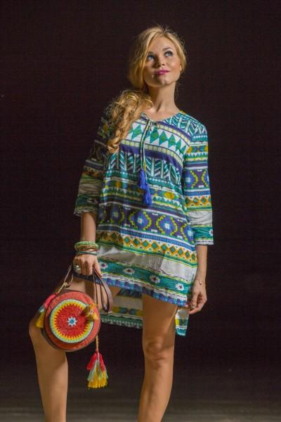 Aztec print neck drawstring tunic