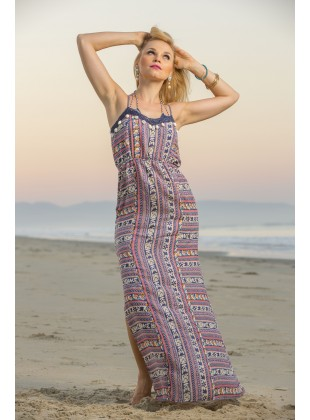 Rayon dress with shells on front