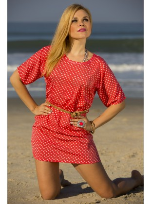 Polycrape coral dot print dress with belt