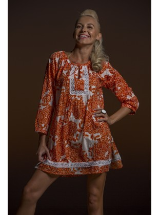 Rose print tunic orange