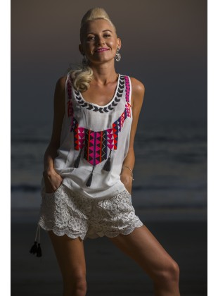 Ecru cotton aari embroidery top