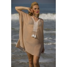 Dusty georgette kaftan with embroidery.