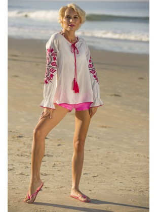 Ecru rayon top with fushia embroidery