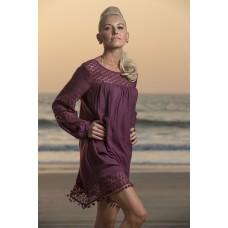 Wine rayon crape dress