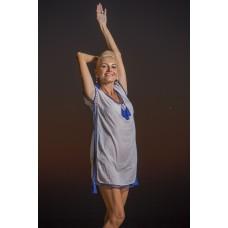 Ecru top with blue ladder lace short dress