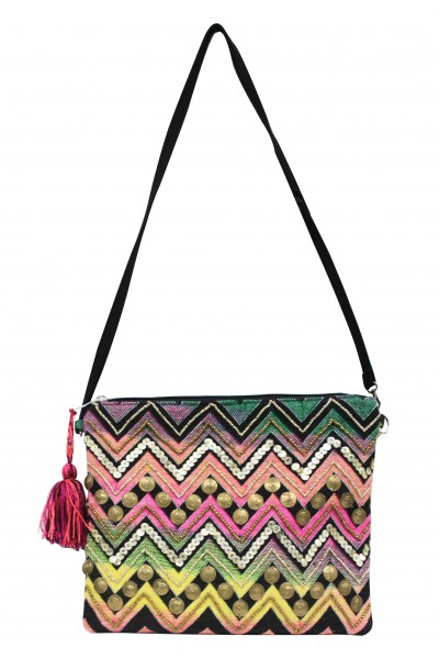 Embellished chevron stripe clutch