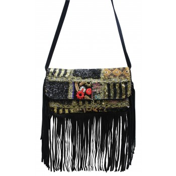 Black fringed clutch