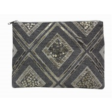 Silver embellished clutch