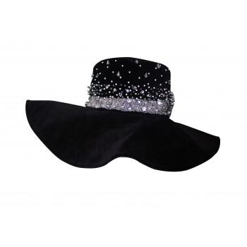 Embellished suede hat