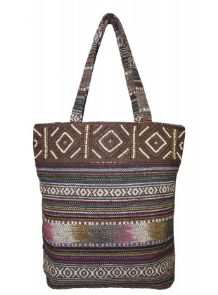 Frosty Grey Aztec Jacquard Bag