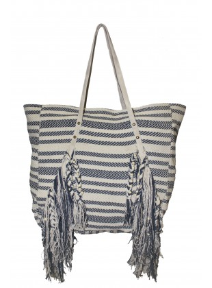Striped Fringed Bag