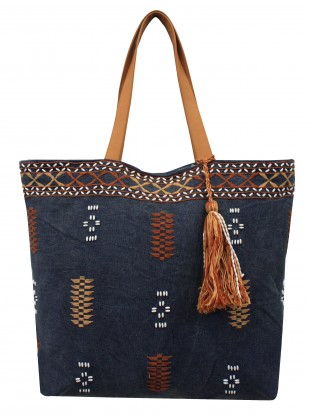 Embroidered stonewash canvas bag