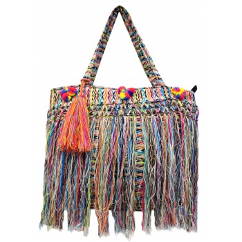 Multi-color fringed jacquard bag