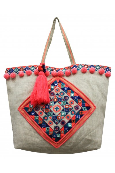 Multi-color Embroidered jute bag