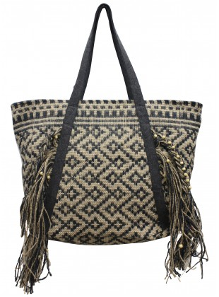 Fringed jacqaurd bag