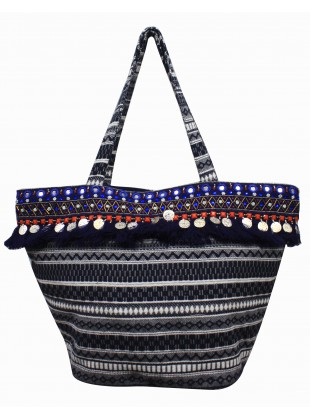 Embellished navy jacquard bag