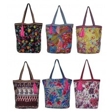 Printed polyetser bag 6 pcs set assorted prints