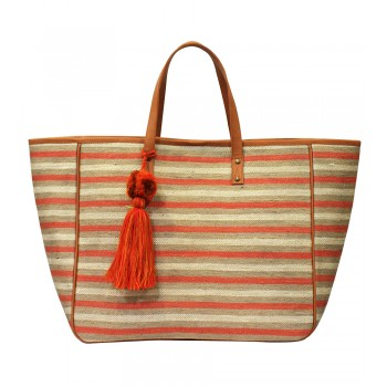Striped Jute Bucket bag